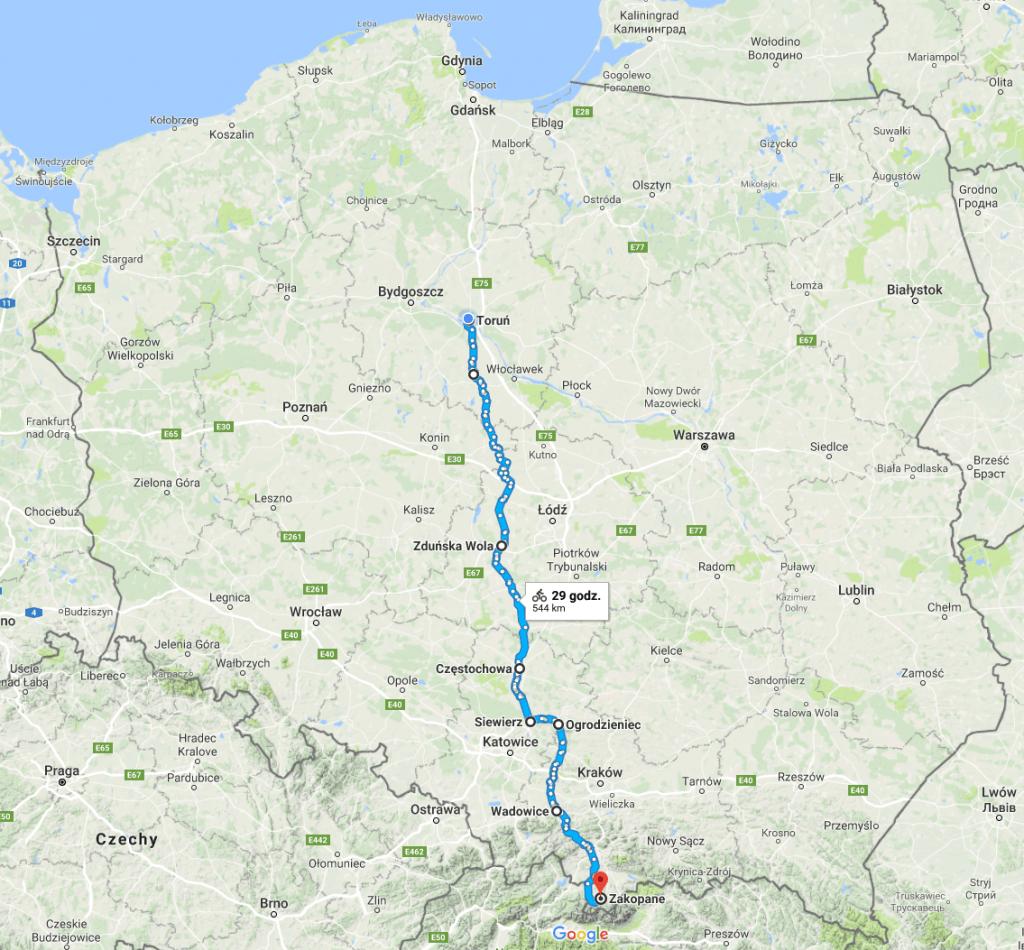 Trasa Toruń - Zakopane