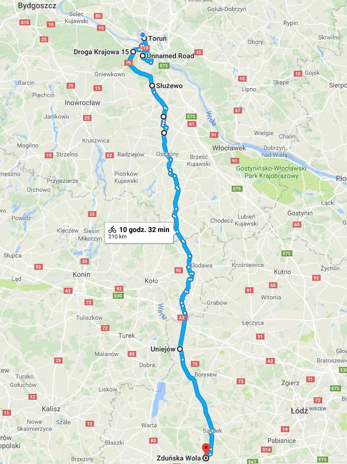 Trasa z Torunia do Zduńskiej Woli