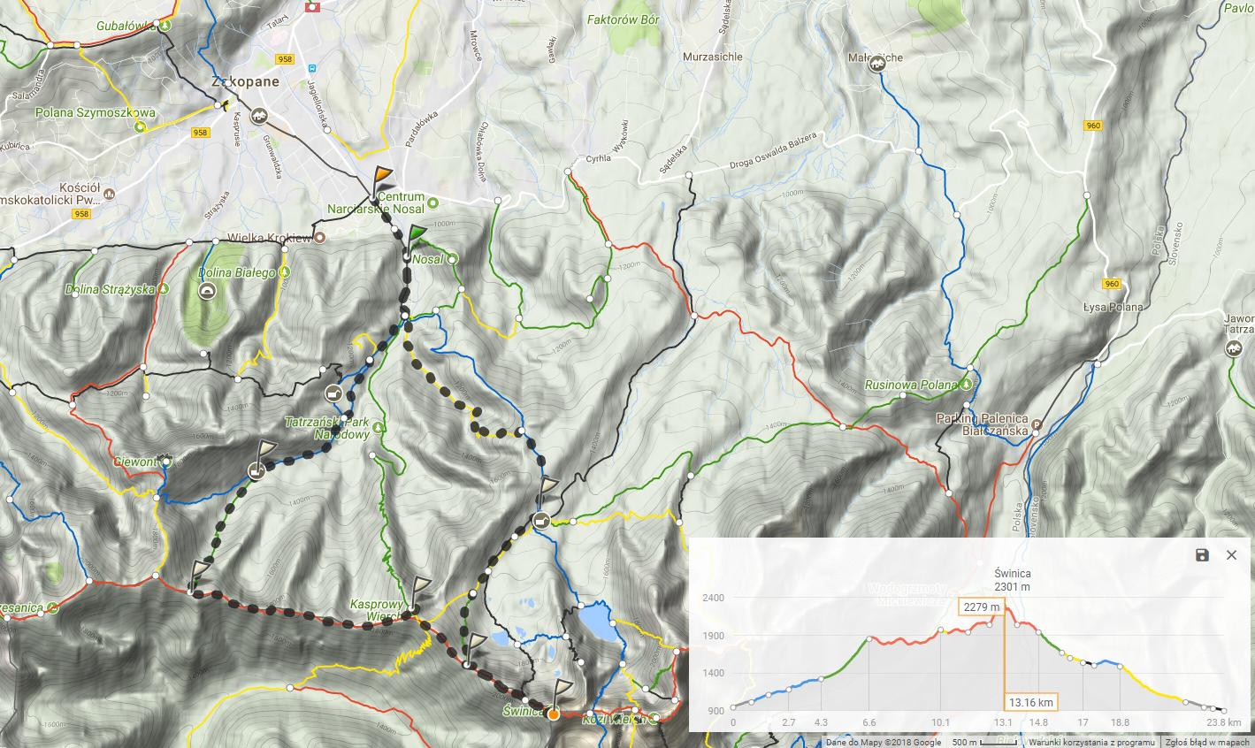 Mapa całej trasy - Kuźnice, Dolina Kondratowa, Kasprowy Wierch, Świnica - 23km.